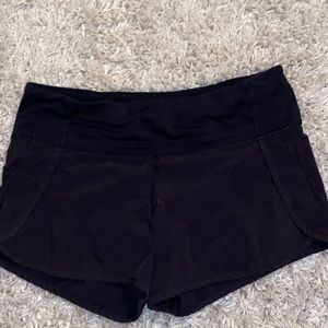 "Black Lululemon speed up short 4"" inseam"